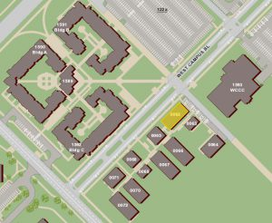 Screenshot of AggieMap with building 0062 highlighted