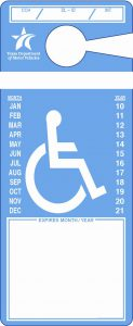 Example of blue disabled placard