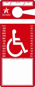 Example of red (temporary) disabled placard
