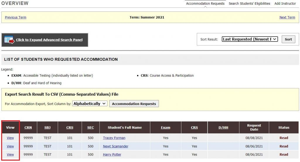 Screenshot: Instructor Overview with View Link highlighted