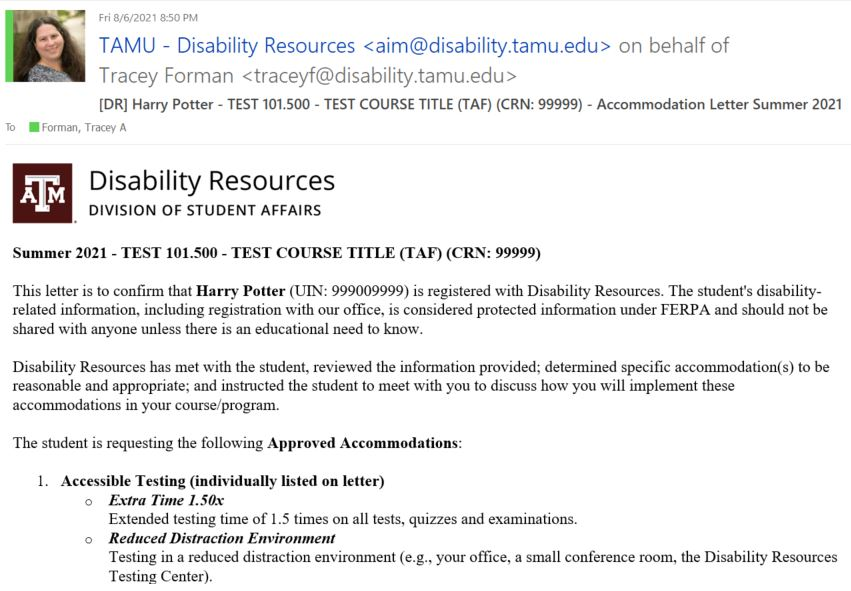 Screenshot: Sample Faculty Notification Email