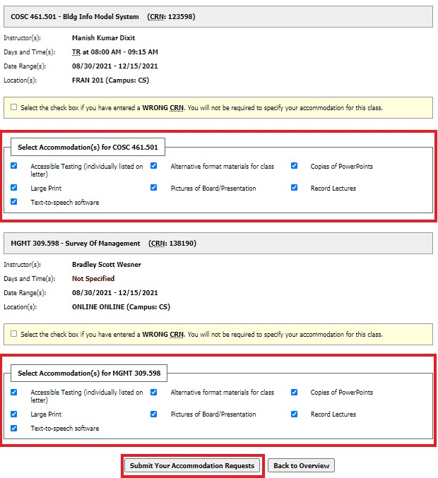 Screenshot: Verify Accommodations and Submit Your Accommodation Requests